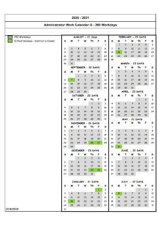 Administrator Work Calendar