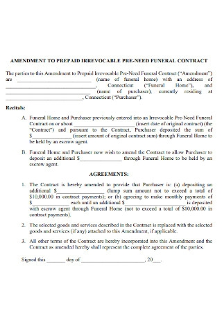 Amendment to Repaid Contract