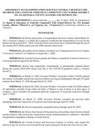 Amendment to Transportation Service Contract
