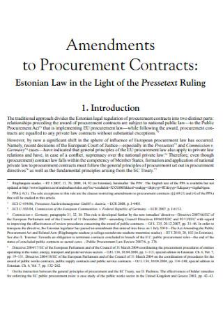 Amendments to Procurement Contracts