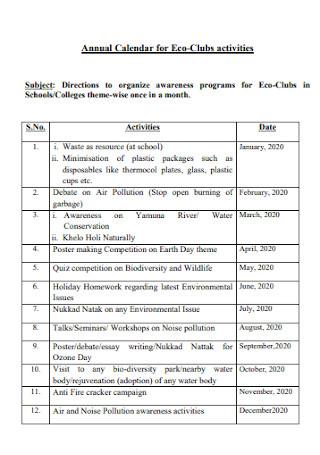 Annual Calendar for Eco Clubs Activities