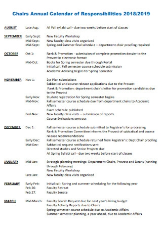Annual Calendar of Responsibilities