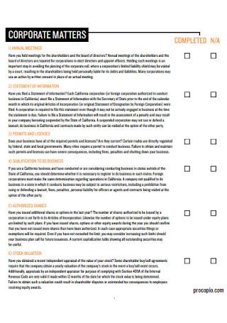 Annual Corporate Checklist