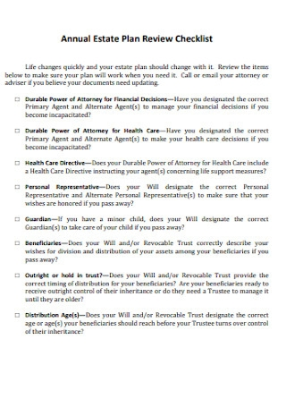 Annual Estate Plan Review Checklist