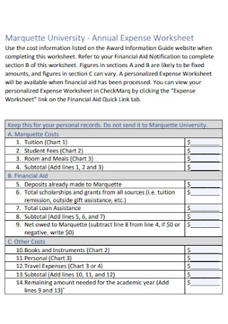 Annual Expense Worksheet