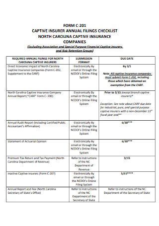 Annual Filings Checklist