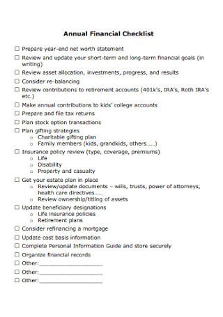 Annual Financial Checklist