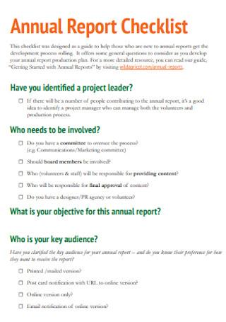 Annual Report Checklist