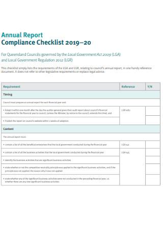 Annual Report Compliance Checklist