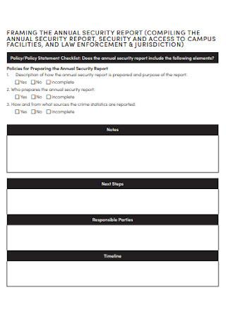 Annual Security Report Checklist