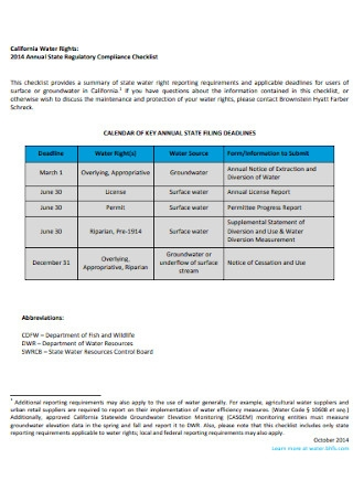 Annual State Regulatory Compliance Checklist