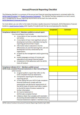 Annual and Financial Reporting Checklist