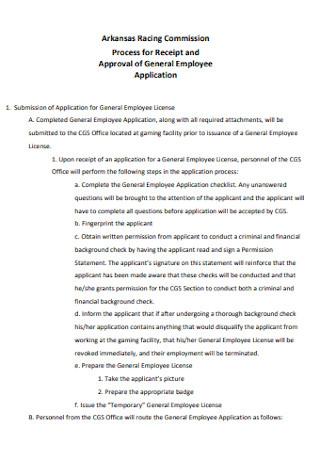Approval of General Employee Receipt