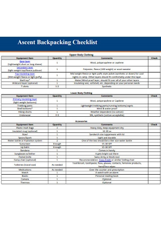 Ascent Backpacking Checklist