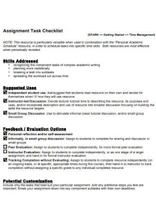 Assignment Task Checklist