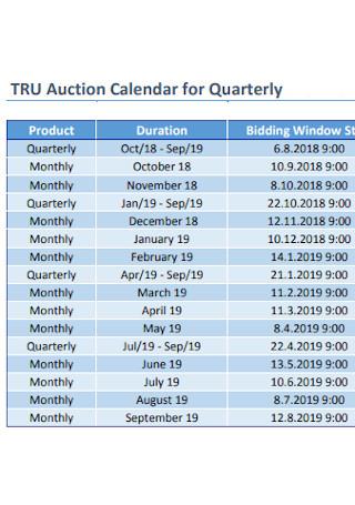 Auction Calendar for Quarterly