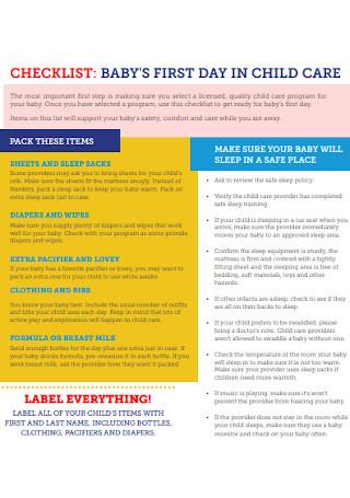 Baby Child Care Checklist