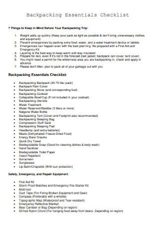 Backpacking Essentials Checklist