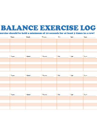 Balance Exercise Log