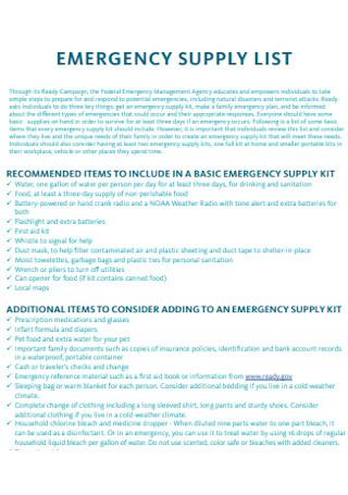 Basic Emergency Supply List