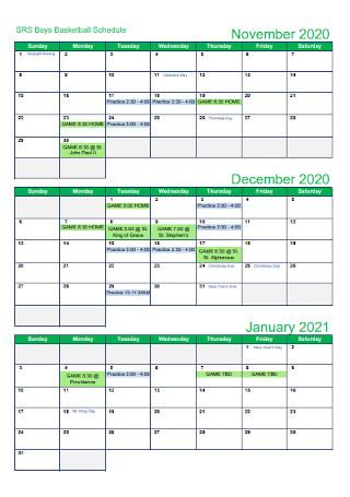 Basketball Quaterly Calendar