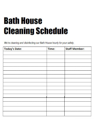 Bath House Cleaning Schedule
