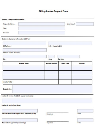 Billing and Invoice Request Form