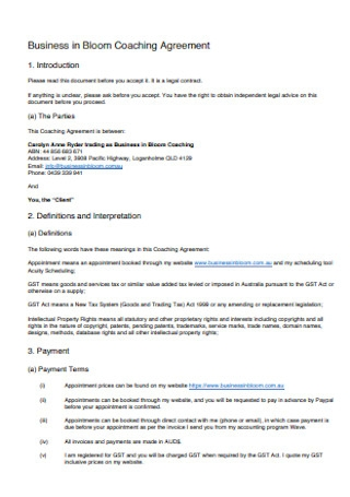 Business in Bloom Coaching Agreement