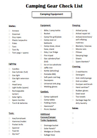 Camping Gear Check List