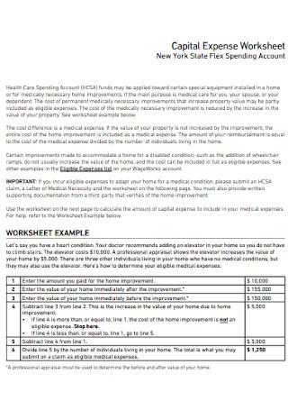 Capital Expense Worksheet