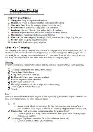 Car Camping Checklist Format