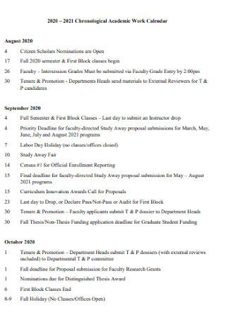 Chronological Academic Work Calendar