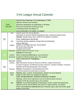 Civic League Annual Calendar