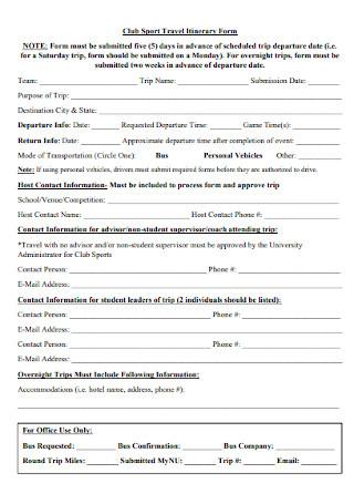 Club Sport Travel Itinerary Form