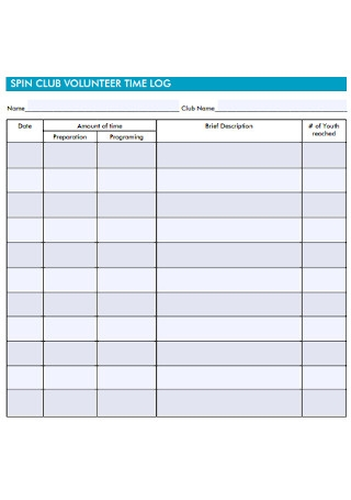 Club Volunteer Time Log