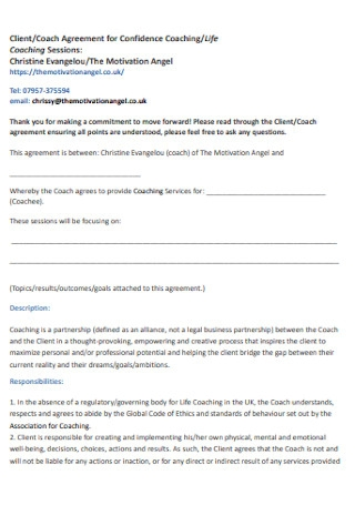 Coach Agreement for Confidence Coaching