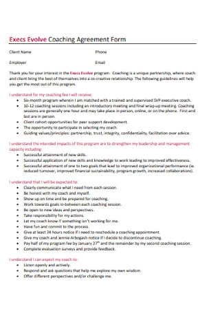 Coaching Agreement Form
