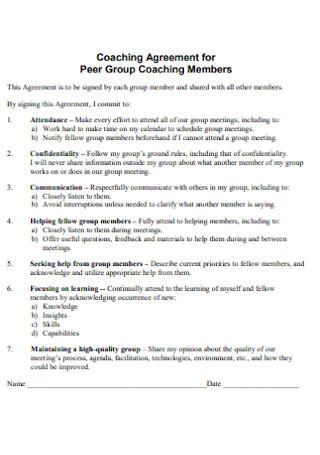 Coaching Agreement for Peer Group Members