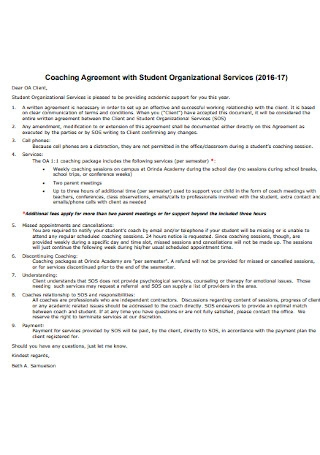 Coaching Agreement with Student Organizational