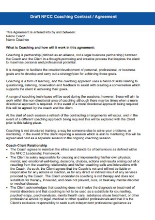 Coaching Contract and Agreement Template