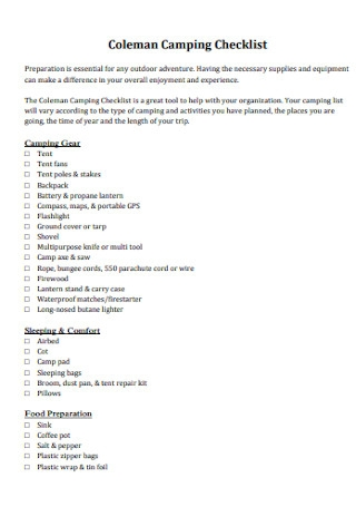 Coleman Camping Checklist