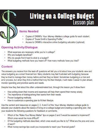 College Budget Lesson Plan