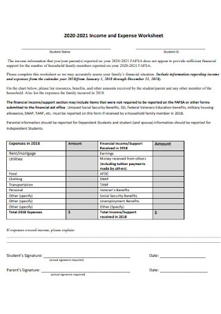 College Income and Expense Worksheet