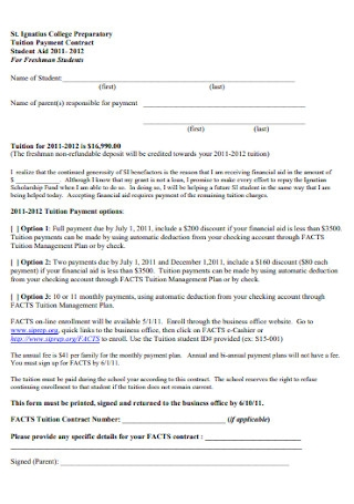 College Tuition Payment Contract