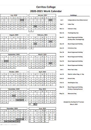 College Work Calendar