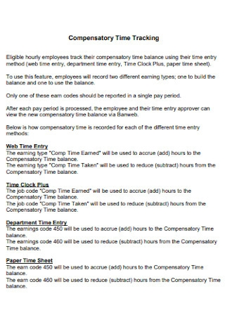 Compensatory Time Tracking