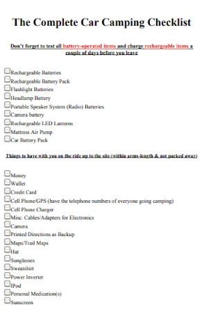 Complete Car Camping Checklist
