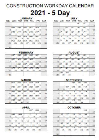 Construction Workday Calendar