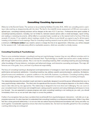 Consulting and Coaching Agreement