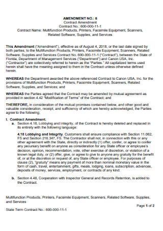 Contract Amendment Format